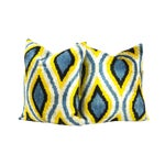 Image of Peacock Pattern Silk Ikat Velvet Pillow - Pair