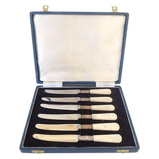 English Pearl Handle Knives in Case - Set of 6