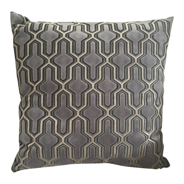 Velvet Pillow with Geometric Pattern - Image 1 of 3