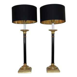 Vintage Curry Black & Gold Buffet Lamps - A Pair