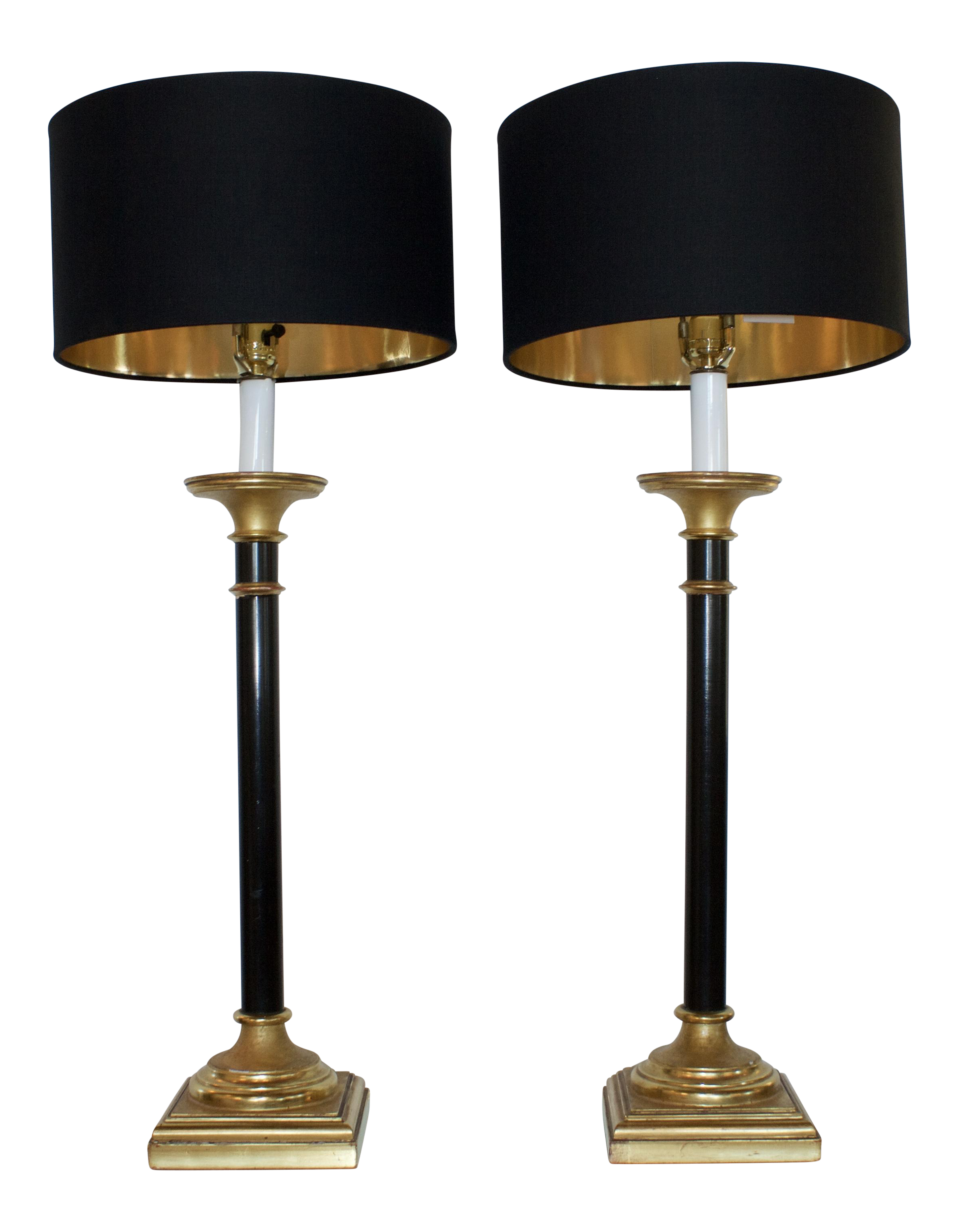 image of vintage curry black u0026 gold buffet lamps a pair