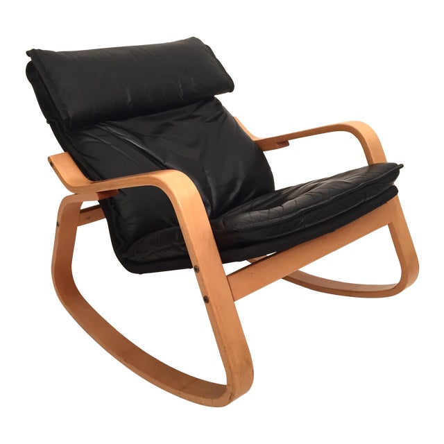 Danish Modern Black Leather Rocker - Image 1 of 4