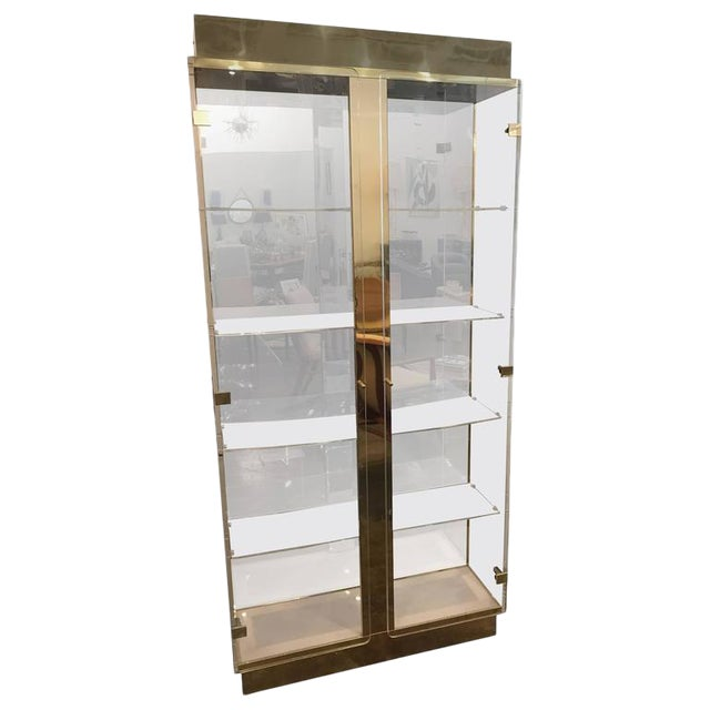 Tall Lucite, Mirror and Gold Tone Metal Cabinet with Upper and Lower Lighting - Image 1 of 10