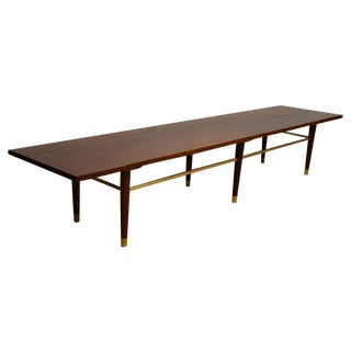 Paul McCobb Style Walnut And Brass Bench