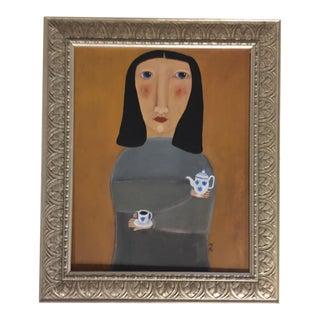 """Tea Time"" Contemporary Folk Painting"