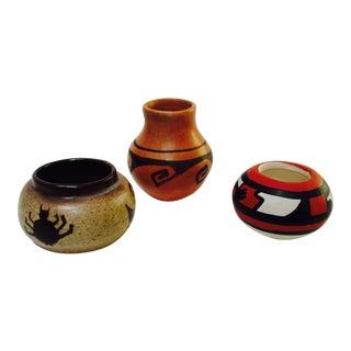 Vintage Mid-Century Studio Pottery Miniature Ceramic Weed Pots - Set of 3