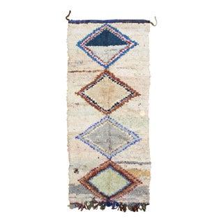 "Pastel Diamond Print Boucherouite Rug 3' 10""x7' 5"""