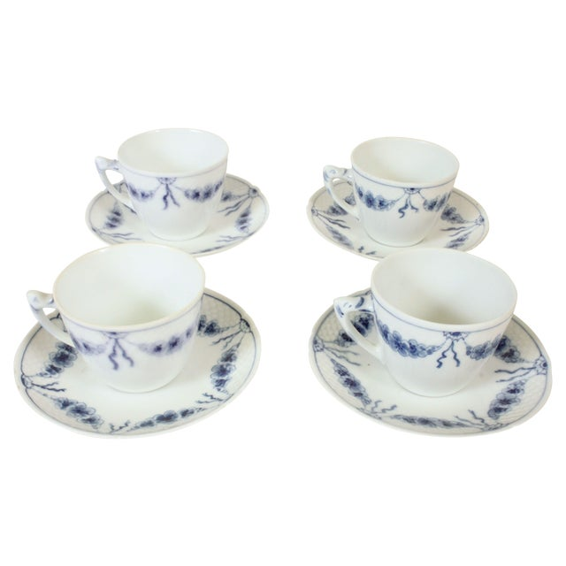 Image of B&G Empire Blue Cups & Saucers- Set of 4