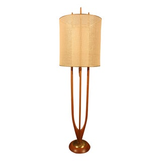 1960s Walnut Floor Lamp with Dual Shades