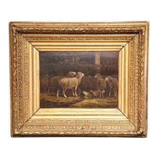 Early 20th Century French Oil on Board Sheep Painting