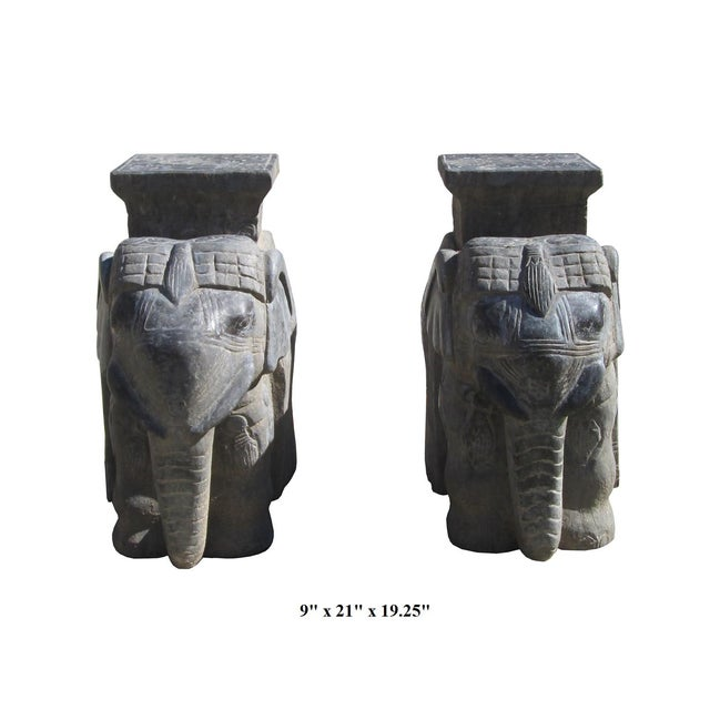 Carved Chinese Solid Stone Elephant Statues - 2 - Image 2 of 6
