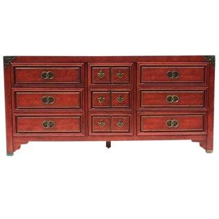 Mid Century Chinoiserie Dresser Asian Credenza Brass Hardware
