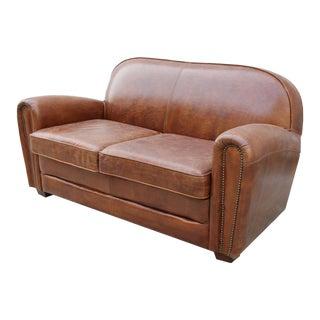 Paris Club Brown Leather Love Seat Sofa