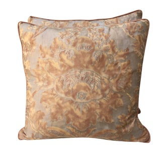 Rust & Metallic Gold Fortuny Pillows - Pair
