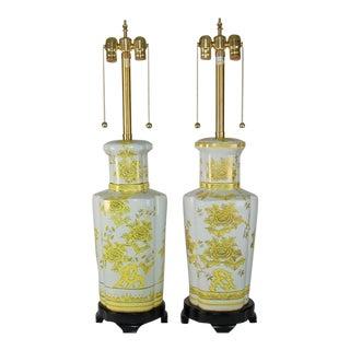 Marbro Vintage Yellow Porcelain Lamps
