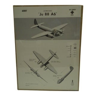 Circa 1943 Wwii Aircraft Recognition Poster Junkers Ju 88 A6