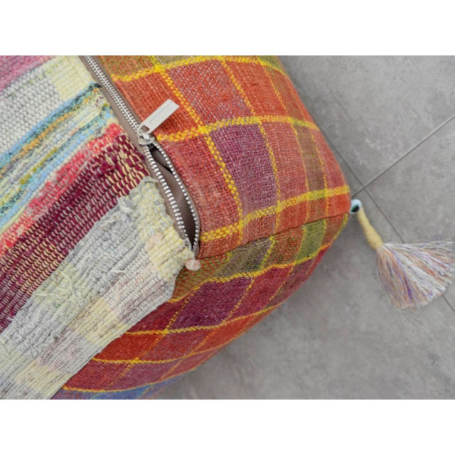 Turkish Hand Woven Kilim Floor Pillow - Image 7 of 9