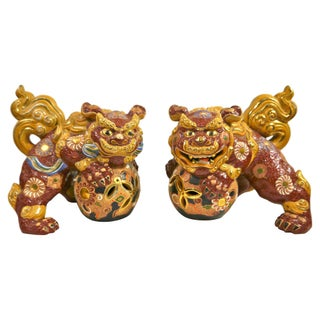 Early 20th Century Moriage Foo Dogs