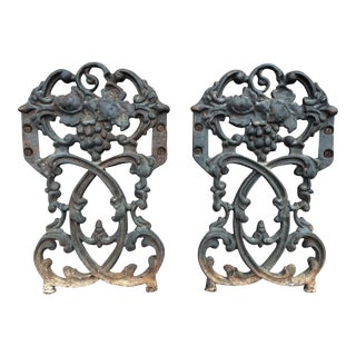 Antique Rococo Vineyard Cast Iron Scrolling Wall Accents, Architectural Salvage