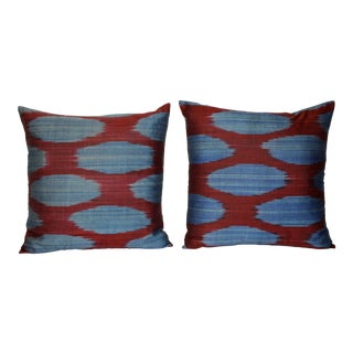 Spotted Blue Ikat Pillows