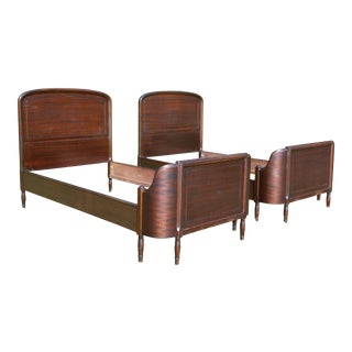 Antique Pair Art Deco Mahogany Twin Curved Beds Vintage Bedroom Set