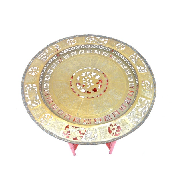 Chinese Brass Tray on Orange Stand - Image 6 of 8