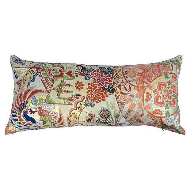 Japanese Obi Silk Metallic Pillow - Image 1 of 6