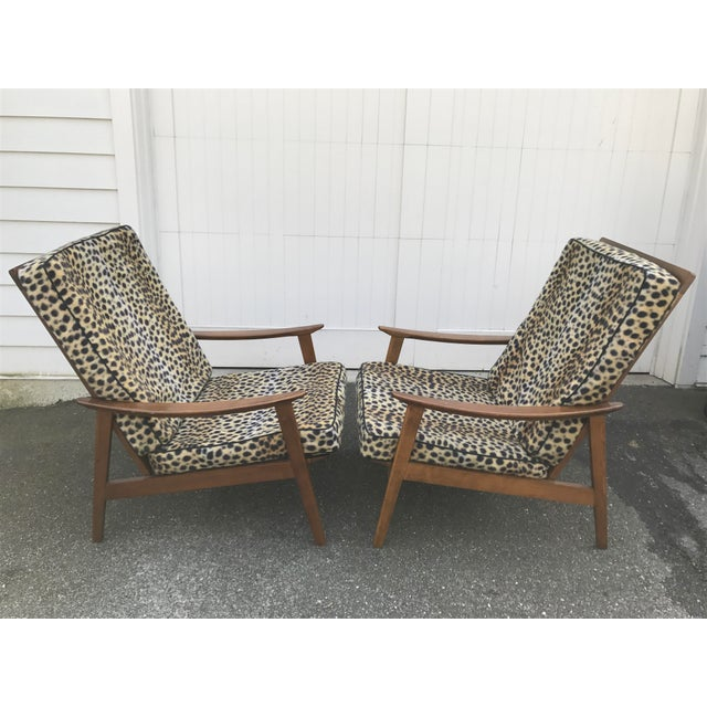 Image of Vintage Danish Modern High Back Armchairs - A Pair