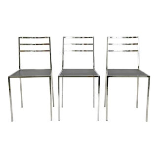 Bauhaus Style Metal Chrome Side Chairs - Set of 3