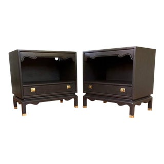 Mid Century Charcoal Black Solid Wood Nightstands - a Pair