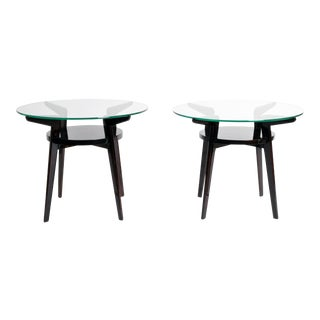 Mid-Century French Glass Top Round Tables
