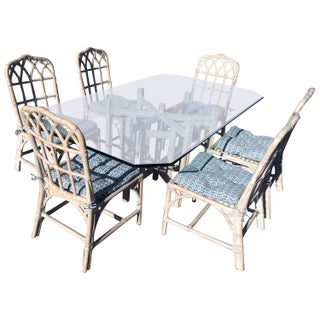 McGuire Bamboo Chinese Chippendale Dining Set