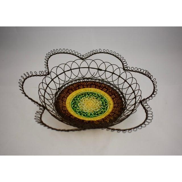 German Majolica & Looped Wire Basket - Image 5 of 11