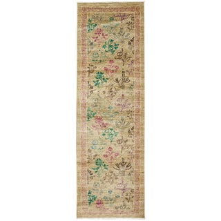 "Vibrance, Hand Knotted Beige Floral Wool Runner Rug - 2' 6"" X 8' 10"""