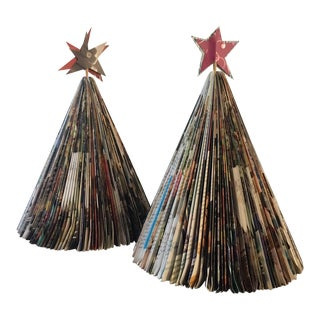 Vintage Magazine Christmas Trees - A Pair