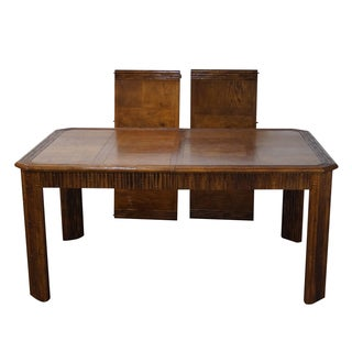 Faux Bamboo Parquet Top Extension Dining Table