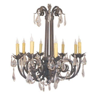 Iron and Crystal Eight Arm Chandelier