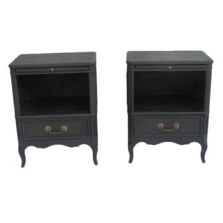 French Country Black Nightstands - a Pair