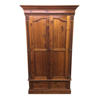 Vintage Carved Pine Armoire