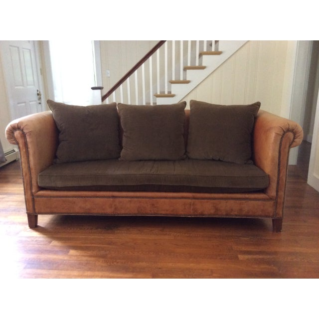 Ralph Lauren Brompton Leather Corduroy Sofa Chairish