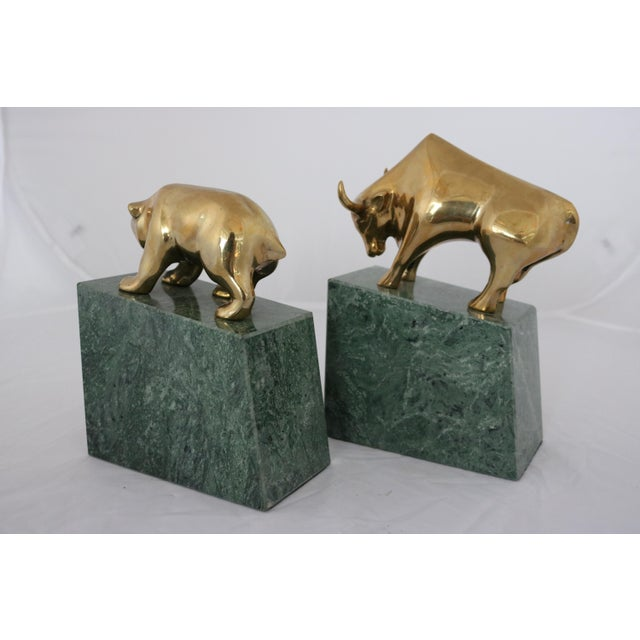Image of Contemporary Brass Bull & Bear on Marble Bookends