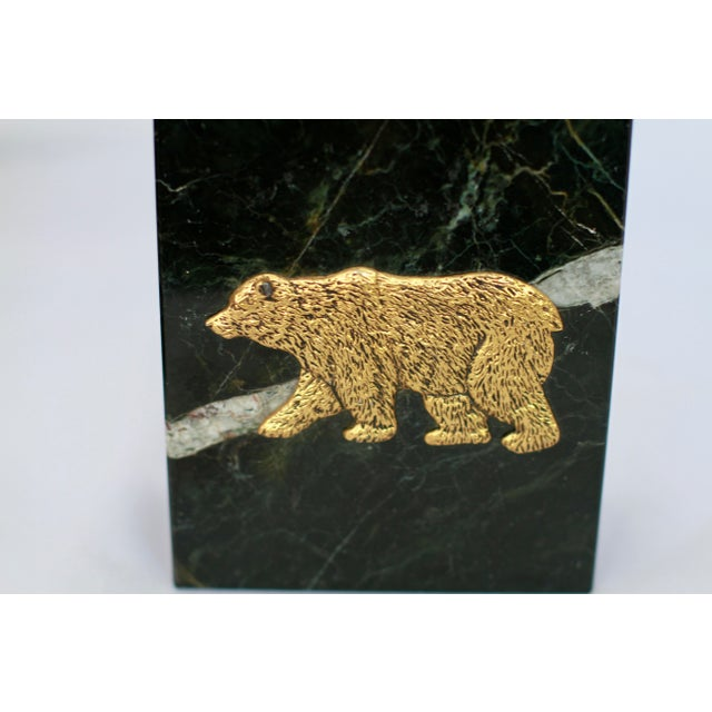 Black Marble Vintage Bull And Bear Stock Market Symbols Bookends A Pair Chairish