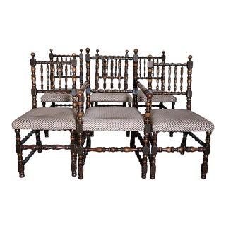 Charles II Style Oak Chairs - Set of 6