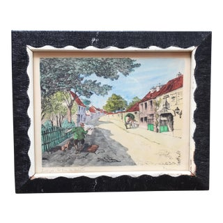 "Framed French ""Rue Des Artistes"" Painting"