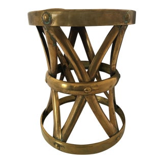 Mid-Century Brass Drum Garden Stool
