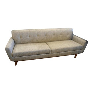 West Elm Mid-Century Tufted Back Carson Cream Chenille Sofa