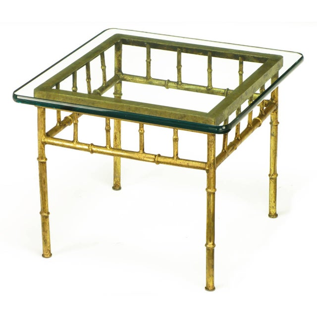 Pair of Glazed Gilt Metal Faux Bamboo End Tables - Image 2 of 5