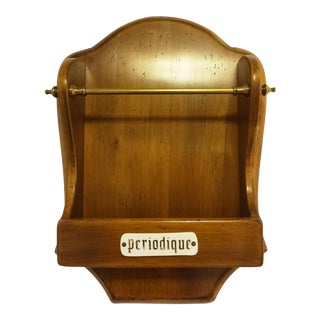 "Vintage French ""Periodique"" Wall Magazine Rack"
