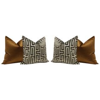 Velvet Maze and Cognac Luxe Velvet Pillows - Set of 4
