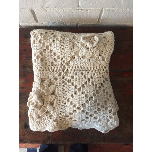 Linen & Cotton Crochet Throw Blanket - Image 2 of 9